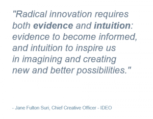 """Radical innovation requires both evidence and intuition"" – Jane Fulton Suri, Chief Creative Officer – IDEO"
